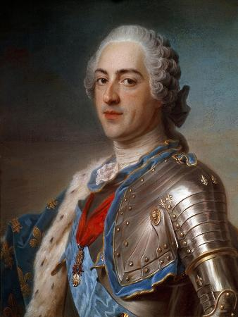 Portrait of Louis XV (1710-1774) in Armor - by Quentin Delatour