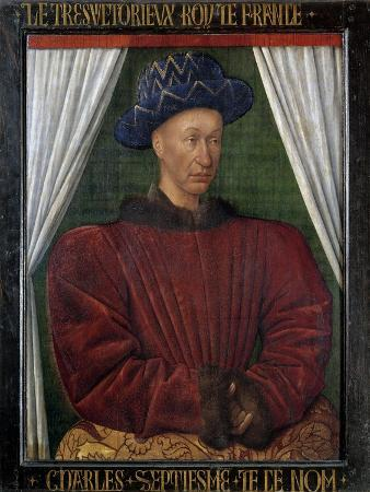 Portrait of Charles VII - by Jean Fouquet