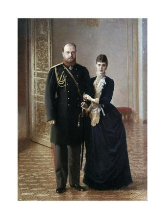 Portrait of Tsar Alexander III of Russia with His Wife Maria Fedorovna by Ivan Nikolaevich Kramskoi
