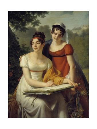 Portrait of the Demoiselles Duval by Jacques Augustin Pajou