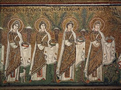 Holy Virgins Procession - Detail of Mosaics, Basilica of Sant'apollinare Nuovo Ravenna