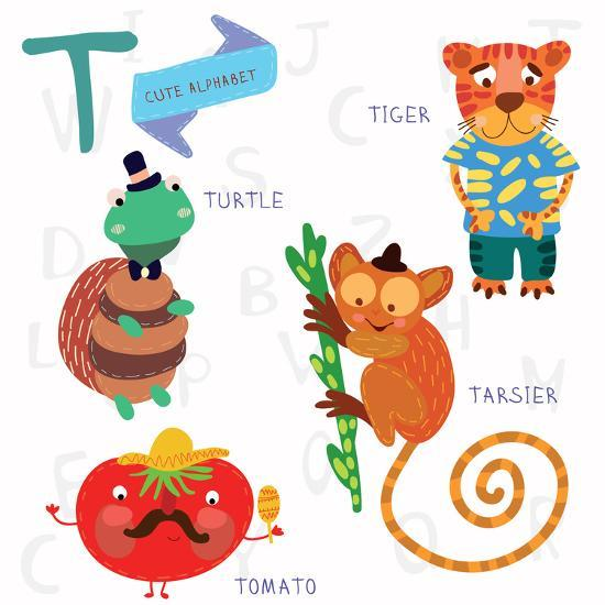 Very Cute Alphabet T Letter Tarsier Turtle Tomatoes Tiger