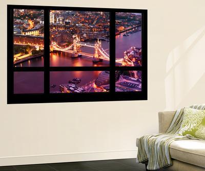 Wall Mural - Window View - City of London with the Tower Bridge at Night - London - UK - England