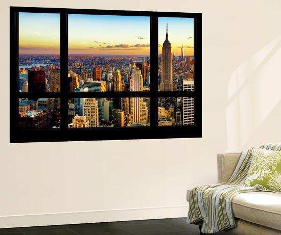 Wall Mural Window View Cityscape Of Manhattan At Sunset New York By Philippe Hugonnard Allposters