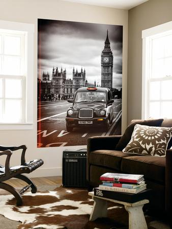 Wall Mural - London Taxi and Big Ben - Black Cabs - London - UK - England - Europe