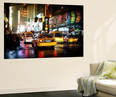 Wall Mural - Manhattan at Night with Yellow Taxis - New York - USA