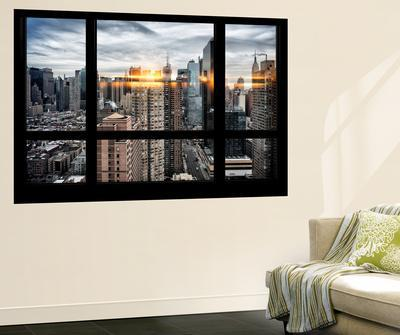 Wall Mural - Window View - Manhattan View with Times Square and 42nd Street - New York