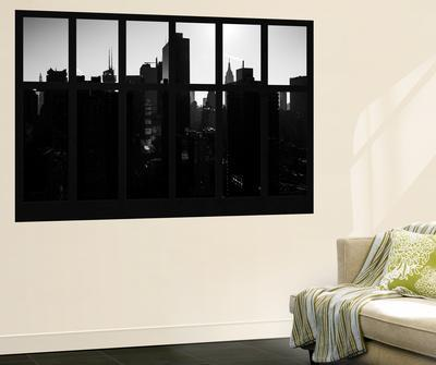 Wall Mural - Window View - Manhattan in Backlight at Sunrise - Times Square - New York