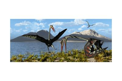 Gigantic Quetzalcoatlus Pterosaurs