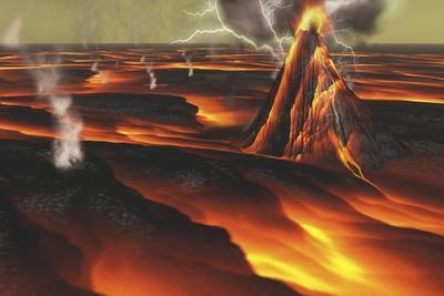 Volcanic Eruption on an Alien Planet