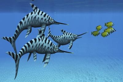 A Group of Fast Swimming Eurhinosaurus Marine Reptiles