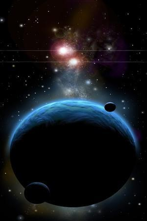 Artist's Depiction of a Blue Planet and it's Orbiting Small Moons
