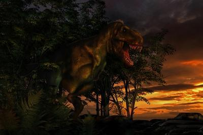 Tyranosaurus Rex Emerging from a Forest on the Lookout for Prey