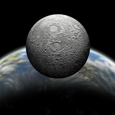 Artist's Depiction of a Heavily Cratered Moon in Orbit around it's Home Planet