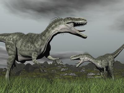 A Territorial Dispute Between Two Monolophosaurus Dinosaurs