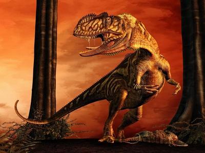 Yangchuanosaurus Standing over His Prey