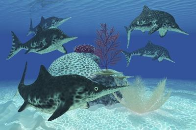 A Group of Large Ichthyosaurus Marine Reptiles Swimming in Prehistoric Waters
