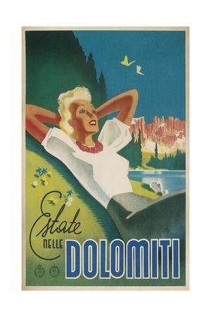 Travel Poster for the Dolomites, Italy