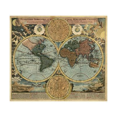 Planiglobii Terrestris Cum Utroq Hemisphaerio Caelesti Generalis Repraesentatio by Johanne Baptist