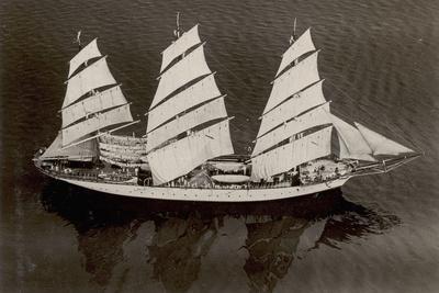 An Aerial View of the German Sail Training Ship 'Grossherzogin Elizabeth'