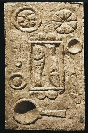 Roman Civilization, Relief Portraying Food Laid Out on Table, from Timgad, Algeria