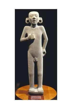 Sandstone Figure of an Adolescent, Front View, Artifact Originating from Tamuin