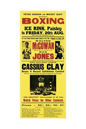 Illustrated Broadside Advertising Cassius Clay at the Ice Rink, Paisley, Scotland