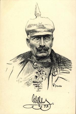 Künstler Schodde, Kaiser Wilhelm II, Spitzhaube