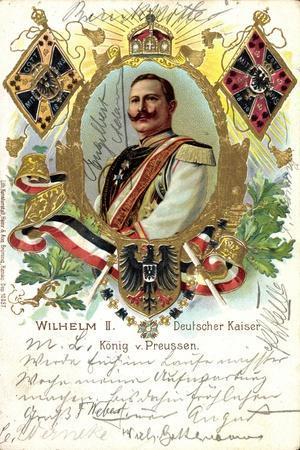 Präge Litho Deutscher Kaiser Wilhelm II V Preußen