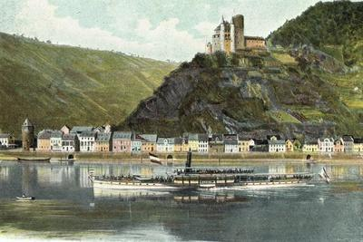 St. Goarshausen Rhein, Burg Katz, Wasserblick, Dampfer Undine