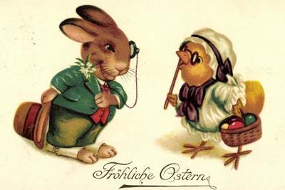 Künstler Frohe Ostern, Osterhase Grüßt Küken, Amag