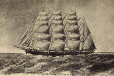 Segelschiff, Viermaster Auf Hoher See, Wind, Wellen