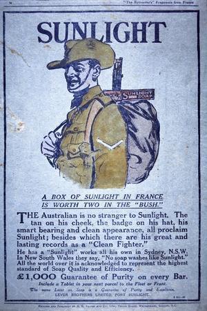 Sunlight Soap Advert of WWI, 1914-18