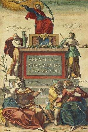 Frontispiece of Volume IV Depicting Allegorical Figures from Civitates Orbis Terrarum