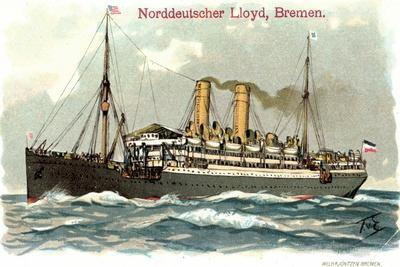 Künstler Litho Dampfer Der Norddeutschen Lloyd Auf See