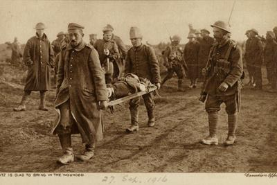 Captured Germans Carrying a Wounded Canadian Soldier on a Stretcher, World War I