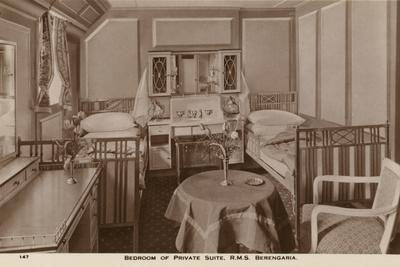 Bedroom of a Private Suite on Board the Cunard Liner RMS Berengaria