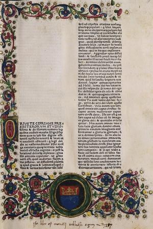 Illuminated Page from a Manuscript Preserved in St Scholastica Library in Subiaco, Lazio, Italy