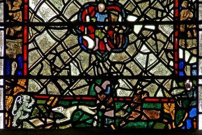 Window W40 Depicting a Border Panel with Stag Chasing