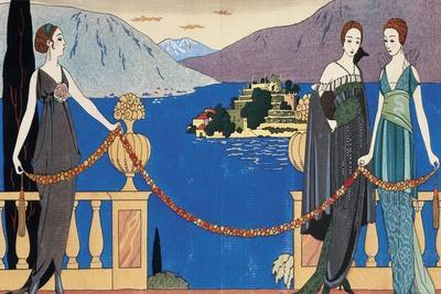 Fashion Plate Depicting Ladies in Redfern Evening Dress and Borromean Isola Bella in the Background