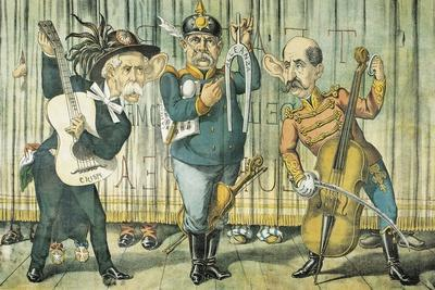 Trinity Meeting, Caricature of the Triple Alliance, from Il Pappagallo, Bologna, September 1, 1888
