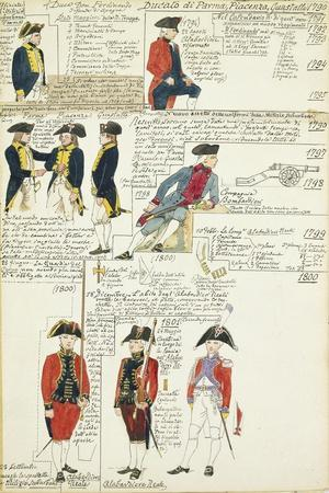 Various Uniforms of the Duchy of Parma, Piacenza and Guastalla, 1790-1800
