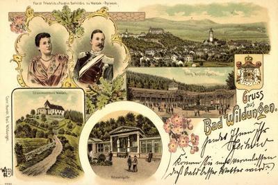 Litho Bad Wildungen Nordhessen, Georg Victor Quelle