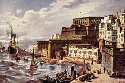 Künstler Perlberg, F., Malta, Hafenpartie, Dampfer