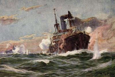 Künstler Stöwer, W., U Boot, Handelsdampfer, Gefecht