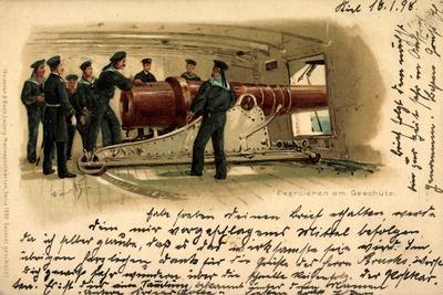 Künstler Litho Exerzieren Am Geschütz, Seeleute