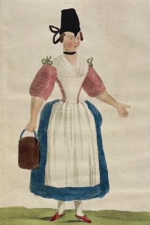 Women's Fashion Plate Depicting Tyrolean Attendant Costume, 1787