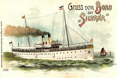 Litho Dampfer Silvana Der Hapag, Segelboote