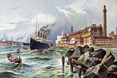 Künstler Perlberg, F., Port Said, Dampfschiff