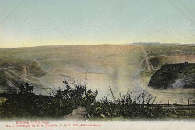 Postcard Depicting Blasting at a Mine